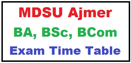 MDSU Ajmer Time Table