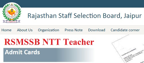 RSMSSB NTT Teacher Admit Card