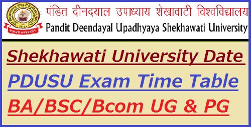 Shekhawati University Exam Date Sheet 2019