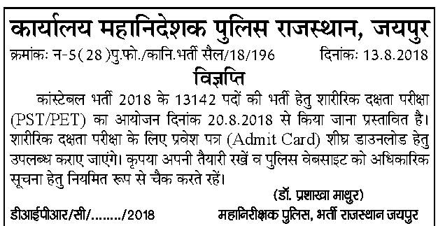 Rajasthan Police Physical Test Admit Card 2018