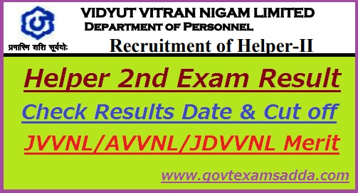 JVVNL Helper 2nd Result 2018