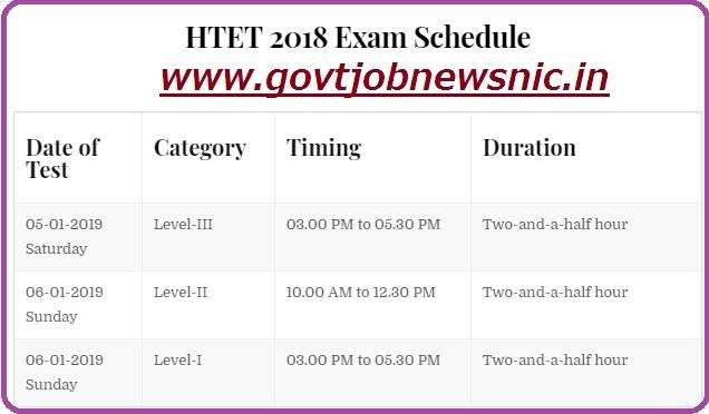 haryana tet 2018 exam time table