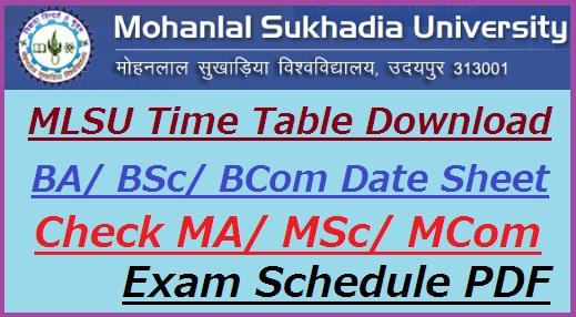 MLSU Time Table 2019