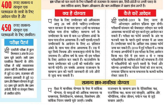 Rajasthan BSTC Syllabus 2019