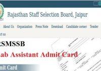 RSMSSB Lab Assistant Admit Card 2020