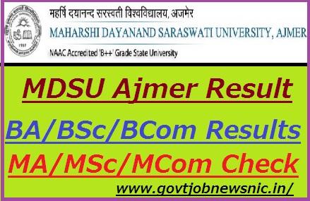 MDSU Ajmer Result 2019