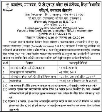 Rajasthan BSTC Notification 2019