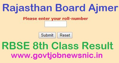 Rajasthan Board 8th Result 2019