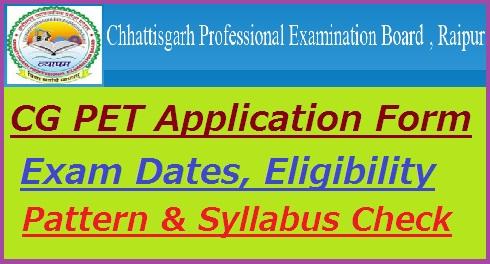 CG PET Application Form 2019