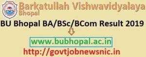 BU Bhopal Result 2019 Barkatullah University BA BSc BCom Results