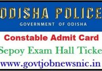 Odisha Police Constable Admit Card 2021