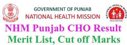 NHM Punjab CHO Result 2019