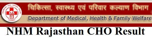 NHM Rajasthan CHO Result 2019