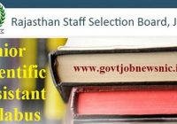 RSMSSB Junior Scientific Assistant Syllabus 2019