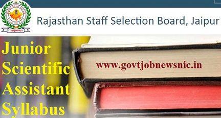 RSMSSB Junior Scientific Assistant Syllabus 2021