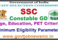 SSC Constable GD Eligibility Criteria 2021