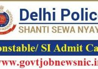 Delhi Police Exam Admit Card 2019
