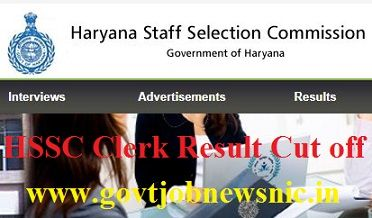 HSSC Clerk Cut off Marks 2021