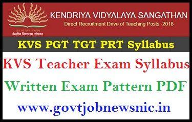 KVS PGT TGT PRT Syllabus 2020