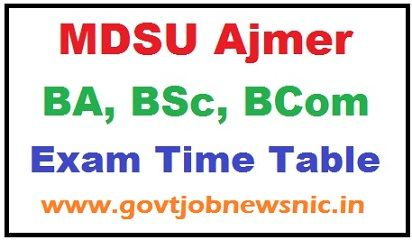 MDSU Ajmer Time Table 2020
