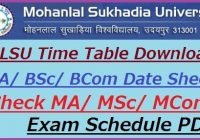 MLSU UG PG Exam Date Sheet 2020