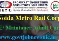 Noida Metro Rail Admit Card 2019
