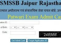 RSMSSB Patwari Admit Card 2020-21