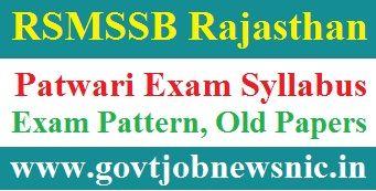 RSMSSB Patwari Exam Syllabus 2021