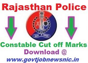 Rajasthan Police Constable Cut off Marks 2020
