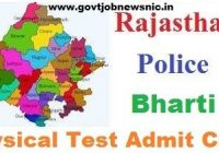 Rajasthan Police Physical Test Admit Card 2020