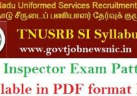TNUSRB SI Syllabus 2020