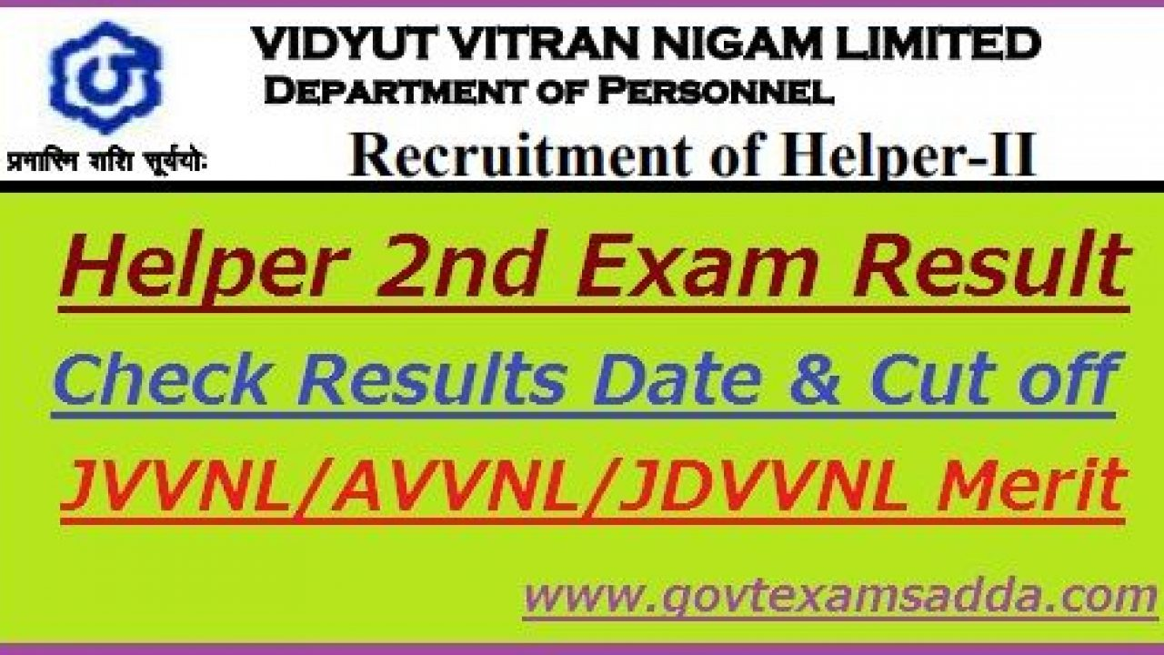 Jvvnl Helper 2nd Result 2021 Helper Ii Cut Off Merit List Released