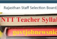 RSMSSB Rajasthan NTT Teacher Syllabus 2021