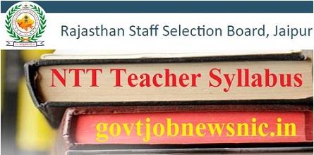 RSMSSB Rajasthan NTT Teacher Syllabus 2021