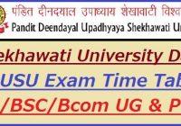 Shekhawati University Exam Date Sheet 2021