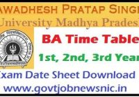 APSU BA Time Table 2021