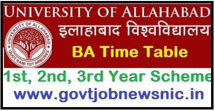 Allahabad University BA Time Table 2020