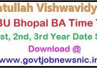 BU Bhopal BA Time Table 2020