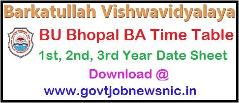 BU Bhopal BA Time Table 2020
