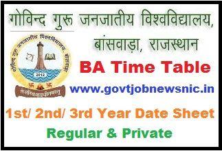 GGTU BA Time Table 2020