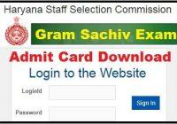 HSSC Gram Sachiv Admit Card 2019