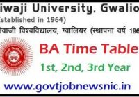 Jiwaji University BA Time Table 2020