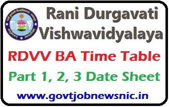 RDVV BA Exam Time Table 2021