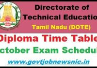 TNDTE Diploma April Time Table 2020