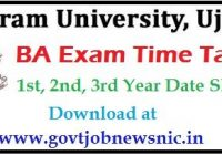 Vikram University BA Time Table 2020