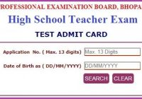 MP Vyapam High School Teacher Admit Card 2021