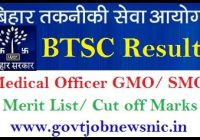 BTSC Medical Officer Result 2020