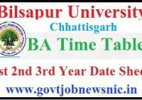 Bilaspur University BA Time Table 2020