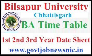 Bilaspur University BA Time Table 2020