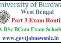 Burdwan University Part 3 Routine 2020